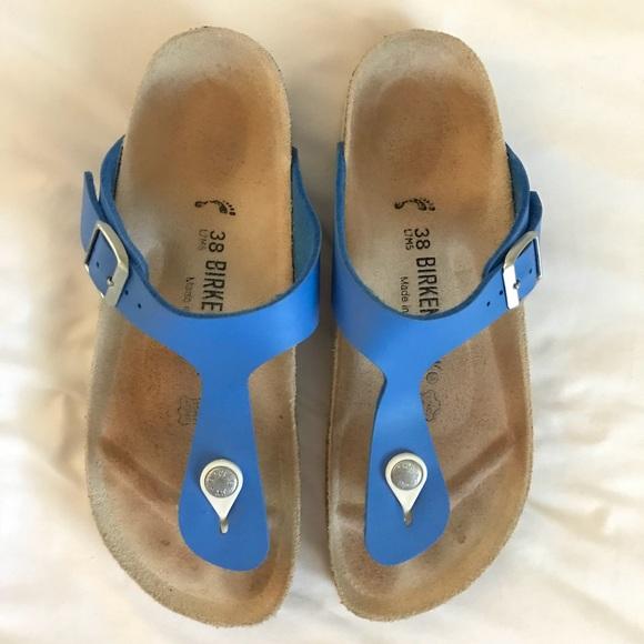 54b1c2f1c96e Birkenstock Shoes - Birkenstock Gizeh Style Sandal in Blue Leather